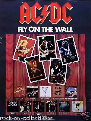 AC/DC 1985 FLY ON THE WALL PROMOTIONAL POSTER ORIGINAL