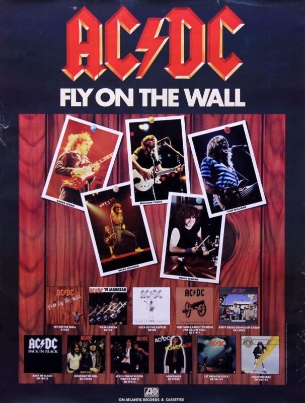 AC/DC 1985 Fly On The Wall Original Vintage Promo Poster