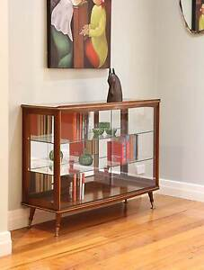 Retro Danish Style Oak Sideboard Glass Display Cabinet – Splayed Williamstown Hobsons Bay Area Preview
