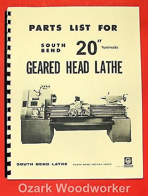 South Bend 20 Turn-nado Gear Lathe Parts Manual 0672