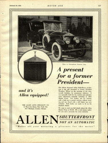 1924 Allen Auto Specialty Ad:  Rolls Royce Given to President Wilson Photograph