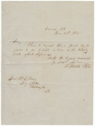 Pierce, Franklin (1804-1869) - autograph letter signed to the Secretary of War