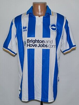 BRIGHTON&HOVE ALBION 2011/2013 HOME FOOTBALL SHIRT JERSEY ERREA SIZE L ADULT image