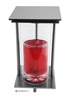 """Grablampe """"Sira"""" (eckig) aus massivem Edelstahl mit feuerfestem Glaseinsatz"""