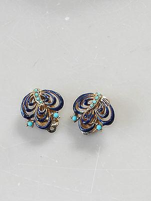 Vintage Signed Ciner Earrings Blue Enamel Turquoise Clip On #5