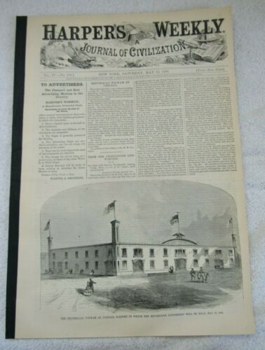 2 1860 Harpers Weekly Newspaper Republican Convention News President Election