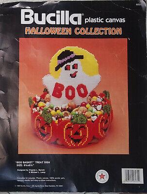 Bucilla Halloween BOO BASKET TREAT DISH Plastic Canvas Kit Ghost Jack-O-Lanterns