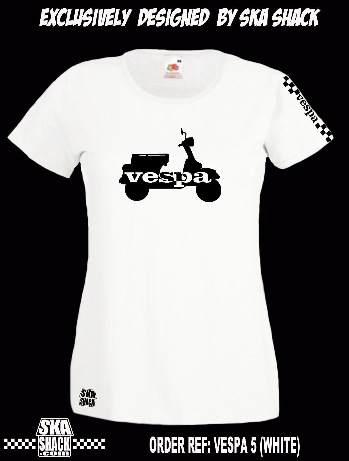 Ladies Vespa T Shirt  Small to XXL - Scooter Clothing.  EXCL