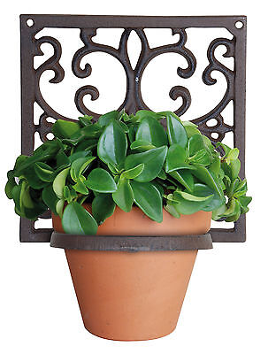 1er Blumenhalter / Topfhalter / Wandhalterung aus Guss (Guß/ Antik Optik / Rost)