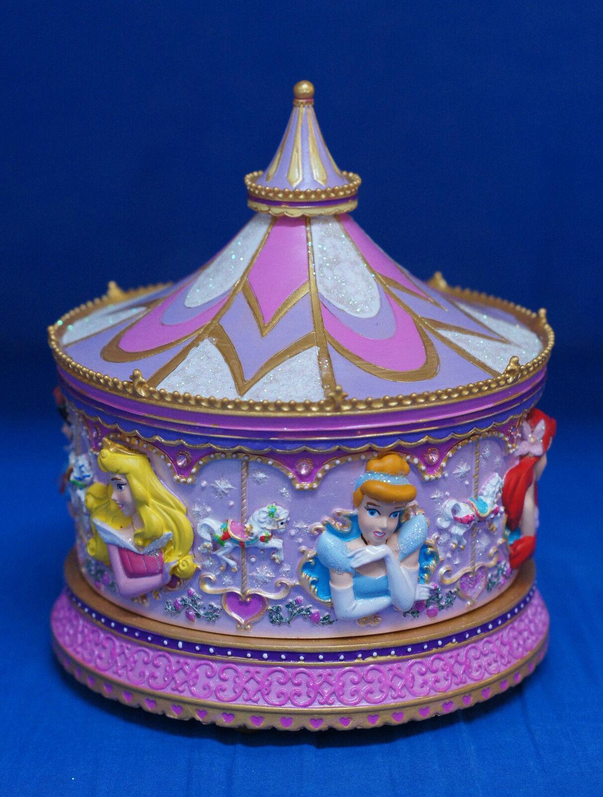 Disney Princess Carousel Musical Resin Trinket Box Mirror Figurine Ariel Belle