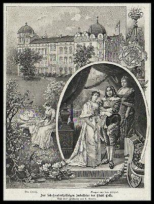 CELLE. Das Schloss. Originaler Holzstich von 1892