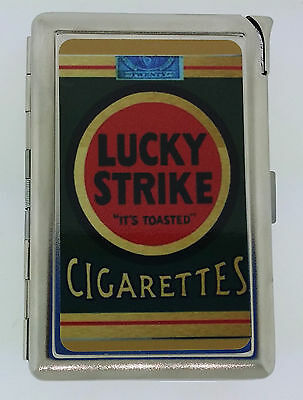 Lucky Strike Pack Ad Cigarette Case with lighter ID Holder Wallet LS01 Vintage
