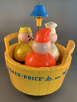 Vintage Fisher Price 3 Men in a Tub Toy