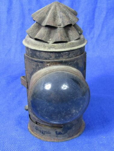 antique hand held kerosene lantern with convex lens Police, Railroad, Miner