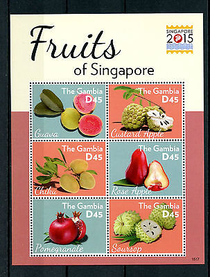 Gambia 2015 MNH Fruits of Singapore 2015 6v M/S Guava Soursop Chiku Apples