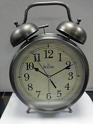 BULOVA -BRAYTON- OVERSIZED ALARM CLOCK , ANTIQUE BRONZE FINISH  B6847