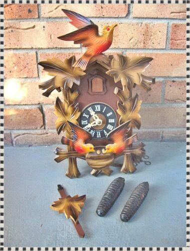 Vintage Colorful Black Forest Cuckoo Clock West Germany Regula Complete Working!