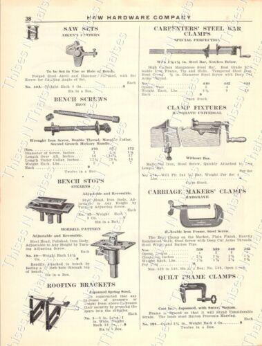 1920s Antique Hardware Ad Saw Sets Vises Clamps Bench Stops/Screws Roof Bracket