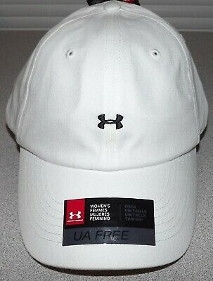 UNDER ARMOUR WOMENS FREE FIT ADJUSTABLE WHITE HAT 1306295 NWT $22