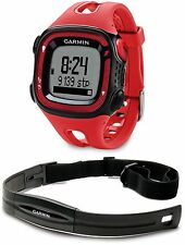 New Garmin Forerunner 15 GPS Fitness Sport Watch w/ HRM - LARGE - Red/Black