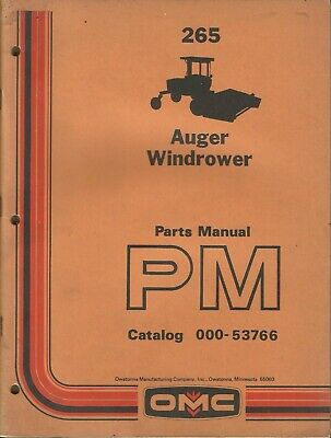 Owatonna Omc Auger Windrower 265 Pm Catalog 000-53766 Tractor Parts Manual