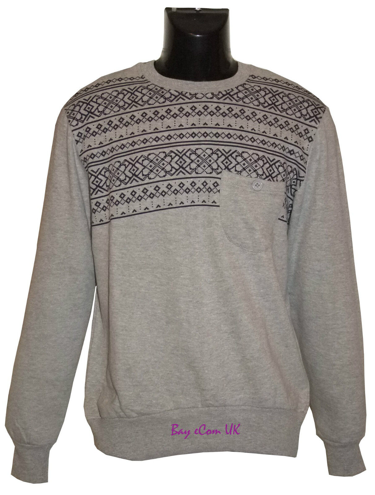 Men's Clothing Activewear Able Mens New Sweatshirt Sweater Crew Neck Pullover Jumper Fleece Aztec Pattern Warm