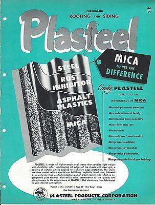 Mro Brochure - Plasteel Corrugated Roofing Siding Mica Plastic Steel 1952 Mr80