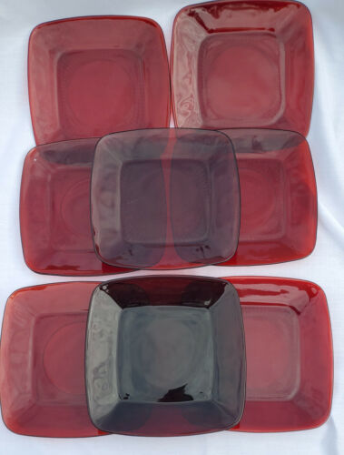 8 Vintage Royal Ruby Red Square Charm Anchor Hocking Lunchon Plates