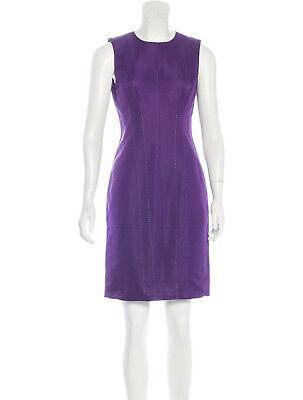 AS NEW J. Mendel Violet Purple Cotton/Silk Sheath Dress - US 4, AU 6-8
