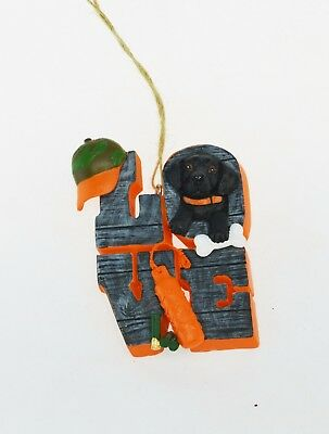 Black Lab Christmas Ornament (Black Lab Love with Camo Hat Christmas Ornament)
