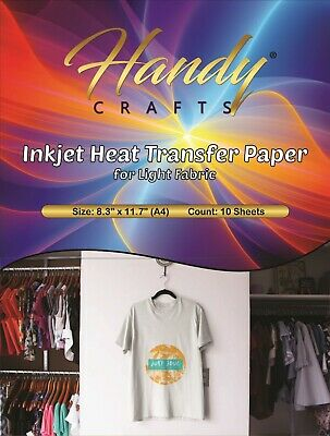 Inkjet Heat Transfer Paper For Light Fabric 8.3 X 11.7 A4 10 Sheets