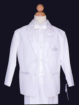 Boys Wedding, Ring Bear, Recital Tuxedo Suit Set, Regular White, Size 6,10](Ring Bear Suits)