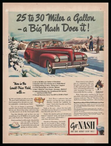 Dec. 1940 NASH 4dr Sedan shown with skiers background Antique Car AD 1941 Model?