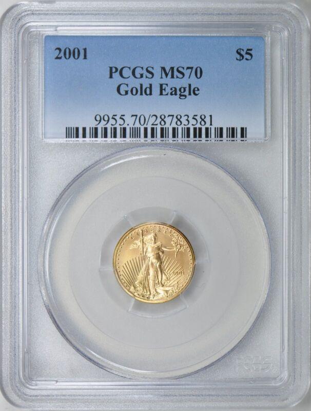 2001 $5 GOLD EAGLE PCGS MS70 LOW POP