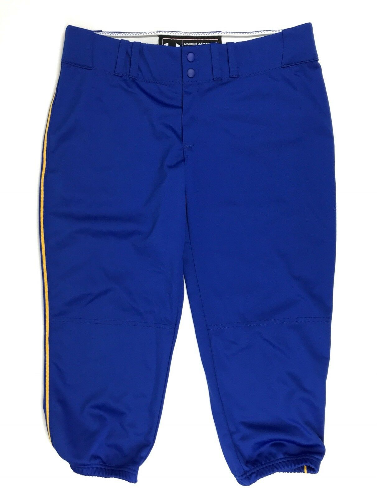 New Under Armour Women/'s Large One-Hop Piped Softball Pant Blue Yellow $45