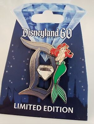 "Disney DLR 60th DIAMOND ANNIV LITTLE MERMAID ARIEL CLASSIC ""D""  LE Pin FREE SHPG"