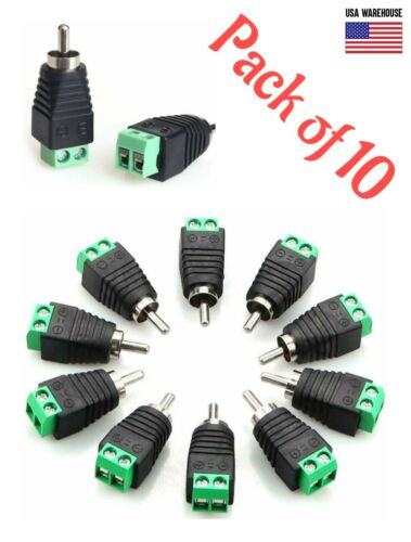 10pcs of Speaker Wire Cable to Audio RCA Male Connector Adapter Jack Plug