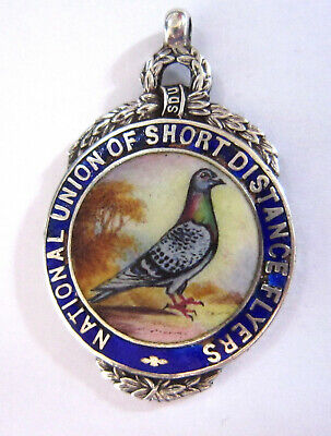 National Union (ANTIQUE - NATIONAL UNION OF SHORT FLYERS - PIGEON FOB - HALLMARKED SILVER)