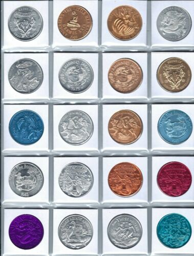 20 DIFFERENT MERMAID COINS TOKENS DOUBLOONS LITTLE MERMAID SEA SHELLS FISH