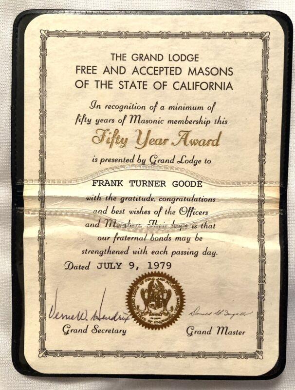 1979 Masonic GRAND LODGE~50 YEAR AWARD Membership~California~ Card