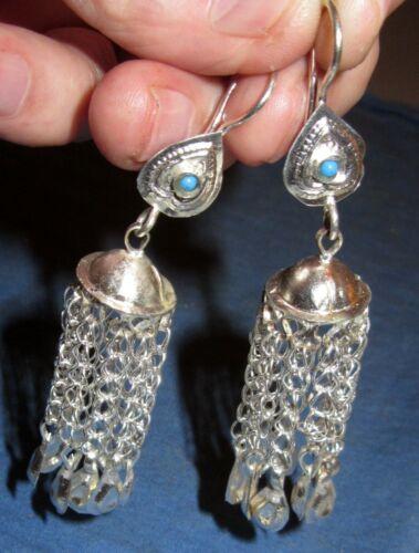 """Earrings Hanging Bells Afghan Kuchi Tribal Alpaca Silver 2 1/2"""""""