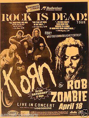 "KORN & ROB ZOMBIE 1999 ""ROCK IS DEAD TOUR"" LOS ANGELES CONCERT POSTER"