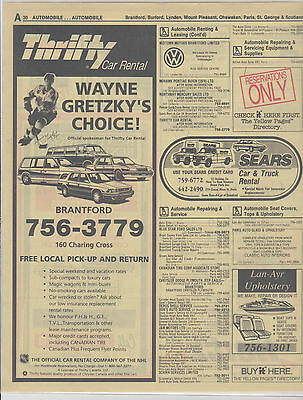 Wayne Gretzky Phone Book Yellow Pages Thrifty Car Rental 1990S Magazine Ad