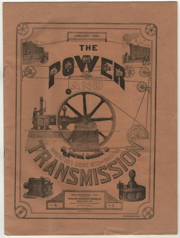 V. RARE 1891 POWER & TRANSMISSION DODGE MFG CO MISHAWAKA IN STEAM ENGINE