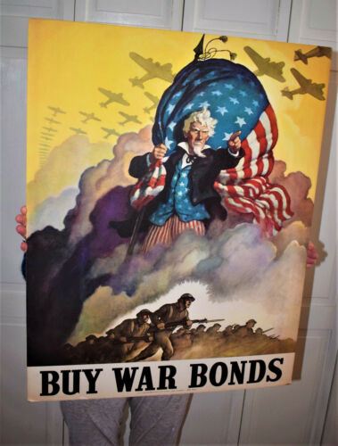 WW2 Original COUNTERCARD - NOT PAPER! Poster Uncle Sam Buy War Bonds NC Wyeth