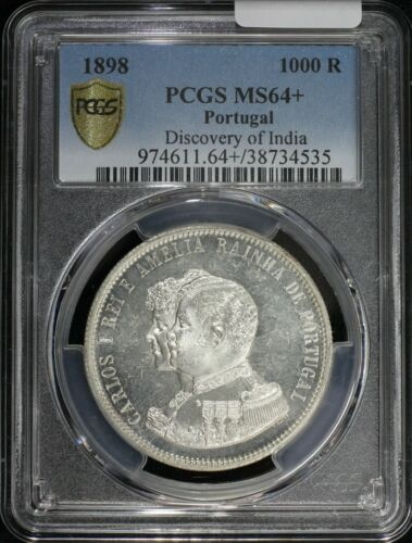1898 1000 Reis Silver Portugal Monarchy Carlos I Discovery of India PCGS MS64+