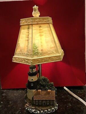 - FANCY CERAMIC/RESIN LIGHTHOUSE LAMP w/LITHOPHANE SCENES SHADE 12 Inches Tall