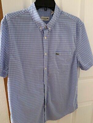 Lacoste Button Down Short Sleeve Shirt Blue Plaid Size 42 (Large)