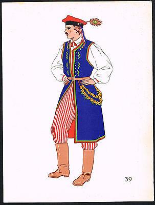 1930s Vintage Poland Cracow European Polish Man's Clothing Pochoir Art Print