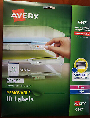 Removable Id Labels - Avery Removable ID Labels 1/2 x 1 3/4 White 2000/Pack 6467